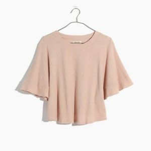 Madewell cotton cropped blouse light pink s